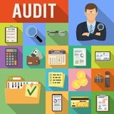 Auditing, Tax, Accounting Flat Icons Set. Auditing, Tax, Business Accounting Flat Icons Set on colored squares with Long Shadows. Auditor Holds Magnifying Glass Royalty Free Stock Image