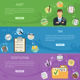 Auditing, Tax and Business Accounting Banners. Auditing, Tax, Business Accounting horizontal banners with flat style icons auditor, folder, tax form, laptop Royalty Free Stock Photo