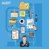 Auditing and Business Accounting Infographics. Auditing, Tax, Business Accounting Infographics. Auditor Holds Magnifying Glass in Hand and Checks Financial Royalty Free Stock Image