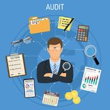 Auditing, Tax process, Accounting Concept. Auditing, Tax, Accounting Concept. Auditor Holds Magnifying Glass in Hand and Checks Financial Report with Charts Royalty Free Stock Images