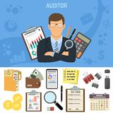 Auditing, Tax process, Accounting Concept. Auditing, Tax, Accounting Concept. Auditor Holds Magnifying Glass in Hand. Flat Style Icons Calculator, Financial Royalty Free Stock Image
