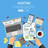 Auditing, Tax process, Accounting Concept. Auditing, Tax process calculation, accounting Concept. Auditor holds glass in hand and checks financial report. Charts Royalty Free Stock Images