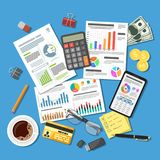 Auditing, Tax Process, Accounting Concept. Auditing, Tax process calculation, accounting Concept. Checks financial report. Charts on Documents and Smartphone Royalty Free Stock Image