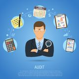 Auditing, Tax process, Accounting Concept. Auditing, Tax, Accounting Concept. Auditor Holds Magnifying Glass in Hand and Checks Financial Report with Charts Stock Image