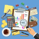 Auditing, Tax process, Accounting Concept. Auditing, Tax process calculation, Accounting Concept. Auditor holds glass in hand and checks financial report. Flat Royalty Free Stock Image