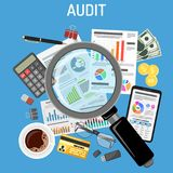Auditing, Tax Process, Accounting Concept. Auditing, Tax process calculation, Accounting Concept. Magnifying Glass Checks financial report. Charts on Documents Royalty Free Stock Image