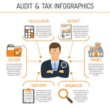 Auditing, Tax process, Accounting Infographics. Auditing, Tax, Accounting Infographics. Auditor Holds Magnifying Glass in Hand and Checks Financial Report with Stock Photos