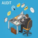 Auditing, Tax process, Accounting Isometric Concept. Auditing, Tax, Accounting Isometric Concept. Auditor works on laptop and Checks Financial Report. Charts Stock Photos
