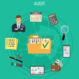 Auditing, Tax, Accounting Concept. Auditing, Tax process, Business Accounting Infographics. Auditor Holds Magnifying Glass in Hand and Checks Financial Report Stock Photography
