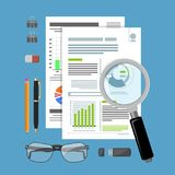 Auditing, Tax Process, Accounting Concept. Auditing, Tax process calculation, accounting Concept. Checks financial report. Charts on Documents. Flat style icons Stock Image