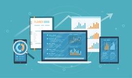 Auditoría en línea, investigación, concepto del análisis Web y servicio móvil Informes financieros, gráficos de las cartas en las ilustración del vector