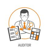 Auditor and Accounting Concept. Auditing, Tax, Accounting Concept. Auditor Holds Magnifying Glass in Hand. Flat style two color icons financial report and Stock Image