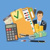 Auditor and Accounting Concept. Auditing, Tax, Business Accounting Concept. Auditor Holds Magnifying Glass in Hand and folder with checked up Financial Reports Stock Images