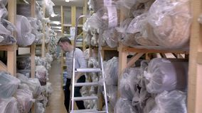 Auditor Counts Merchandise in Pakhuis Hij loopt door Rijen van Opslagrekken met Koopwaar Langzame Motie stock video