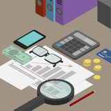 Auditor desktop, accounting documents, the analysis of these rep. Orts, the analyst. Workplace isometrics Stock Image