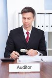 Auditor looking at document Royalty Free Stock Photo