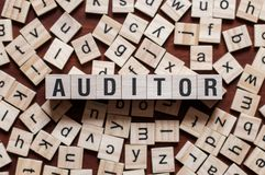 Auditor word on building block royalty free stock photos