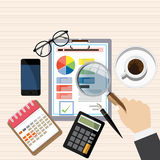 Auditor work desk,financial research report, project desktop vector,. Auditor work desk, accounting paperwork, business research, financial audit, auditing tax Stock Photography