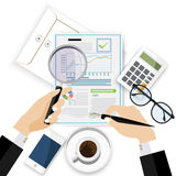 Auditor work desk,financial research report, project desktop vector,. Auditor work desk, accounting paperwork, business research, financial audit, auditing tax Royalty Free Stock Images