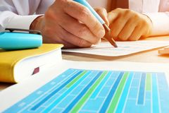 Auditor working with financial data. Internal audit. Auditor is working with financial data. Internal audit royalty free stock photos