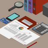 Auditor workplace, accounting documents, the analysis of these r Stock Photography