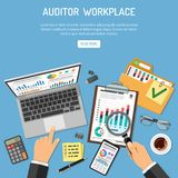 Auditor Workplace Concept. Auditor Workplace, Auditing, Business accounting Concept. Auditor holds magnifier in hand and checks financial report. Flat style Stock Image