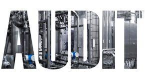 AUDITORIA da palavra - conceito com produção no fundo, letras sobre a foto fotos de stock royalty free