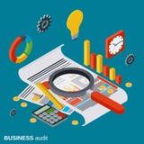 Auditoria do negócio, analítica, relatório, conceito financeiro do vetor da estatística Fotos de Stock Royalty Free
