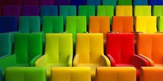 Auditorio con el asiento multicolor stock de ilustración