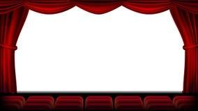 Auditorio con vector del asiento Cortina roja Teatro, pantalla del cine y asientos Etapa y sillas Ilustración realista ilustración del vector
