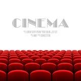 Auditorio del cine con la pantalla blanca y los asientos rojos ilustración del vector