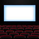 Auditorio del cine con la pantalla y los asientos ilustración del vector
