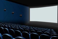 Auditorio del cine con los asientos azules y la pantalla en blanco blanca stock de ilustración