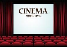 Auditorio del cine de la película con la pantalla y los asientos rojos stock de ilustración