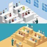 Auditorio interior de la universidad del concepto plano isométrico 3D stock de ilustración