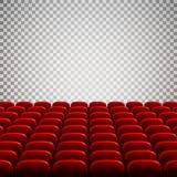 Auditorio vacío ancho del cine con los asientos rojos Filas de los asientos rojos del teatro Ilustración del vector Imagen de archivo