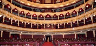 Auditorium. An interior of opera theatre. Odessa, Ukraine royalty free stock images