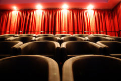 Auditorium. An empty auditorium with leather chairs Royalty Free Stock Photo