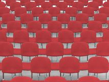 Auditorium. Digital render of an empty auditorium of red chairs Royalty Free Stock Image