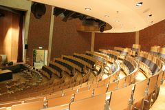 Auditorium. Conference hall, ready for beninning stock photography