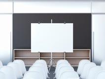 Auditorium con lo schermo in bianco rappresentazione 3d Immagine Stock