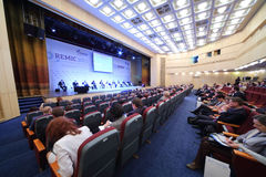Auditorium of International Conference Real Estate Managementin Corporations Stock Photo