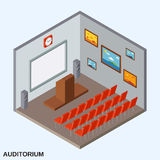 Auditorium isometric vector illustration. Auditorium flat 3d isometric vector illustration royalty free illustration