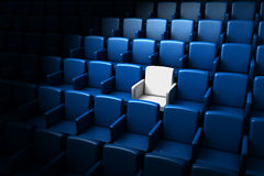 Auditorium with one reserved seat. Blue auditorium with one white reserved seat vector illustration