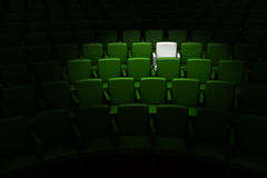 Auditorium with one reserved seat. Green auditorium with one reserved seat stock illustration