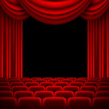 An auditorium with a red curtain Royalty Free Stock Photo