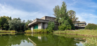 The auditorium seen across the lake in the garden of the Calouste Gulbenkian Royalty Free Stock Image