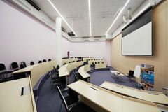 Auditorium Singapore 1 for 60 people. MOSCOW - AUG 20: Auditorium Singapore 1 for 60 people and 146 sq.m. in Singapore cluster of Moscow School of Management Stock Photography