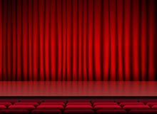 Auditorium stage theater with red curtains and seats. Illustration Stock Photos