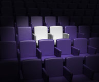 Auditorium with two reserved seats Royalty Free Stock Photography